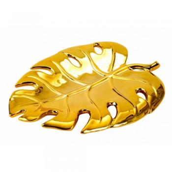 Ozdobny porcelanowy złoty liść  - 1